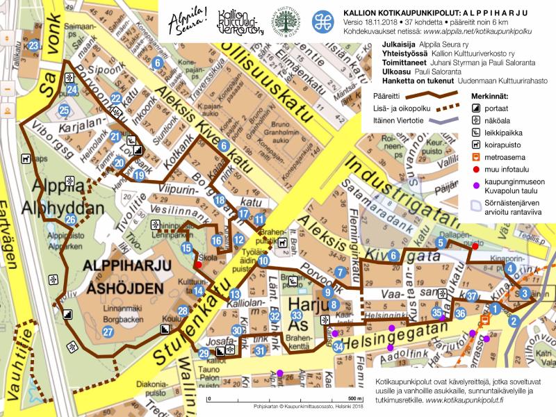 Alppila kotikaupunkipolku kartta
