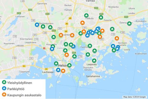 Hgin asukastalot kartalla 2019