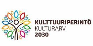 Kulttuuriperintöstrategian logo (Opetus-ja kulttuuriministeriö)