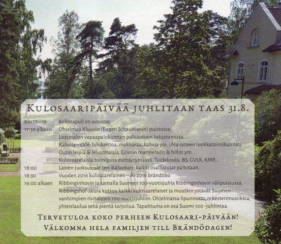 www Kulosaari päivä 31.8.2017
