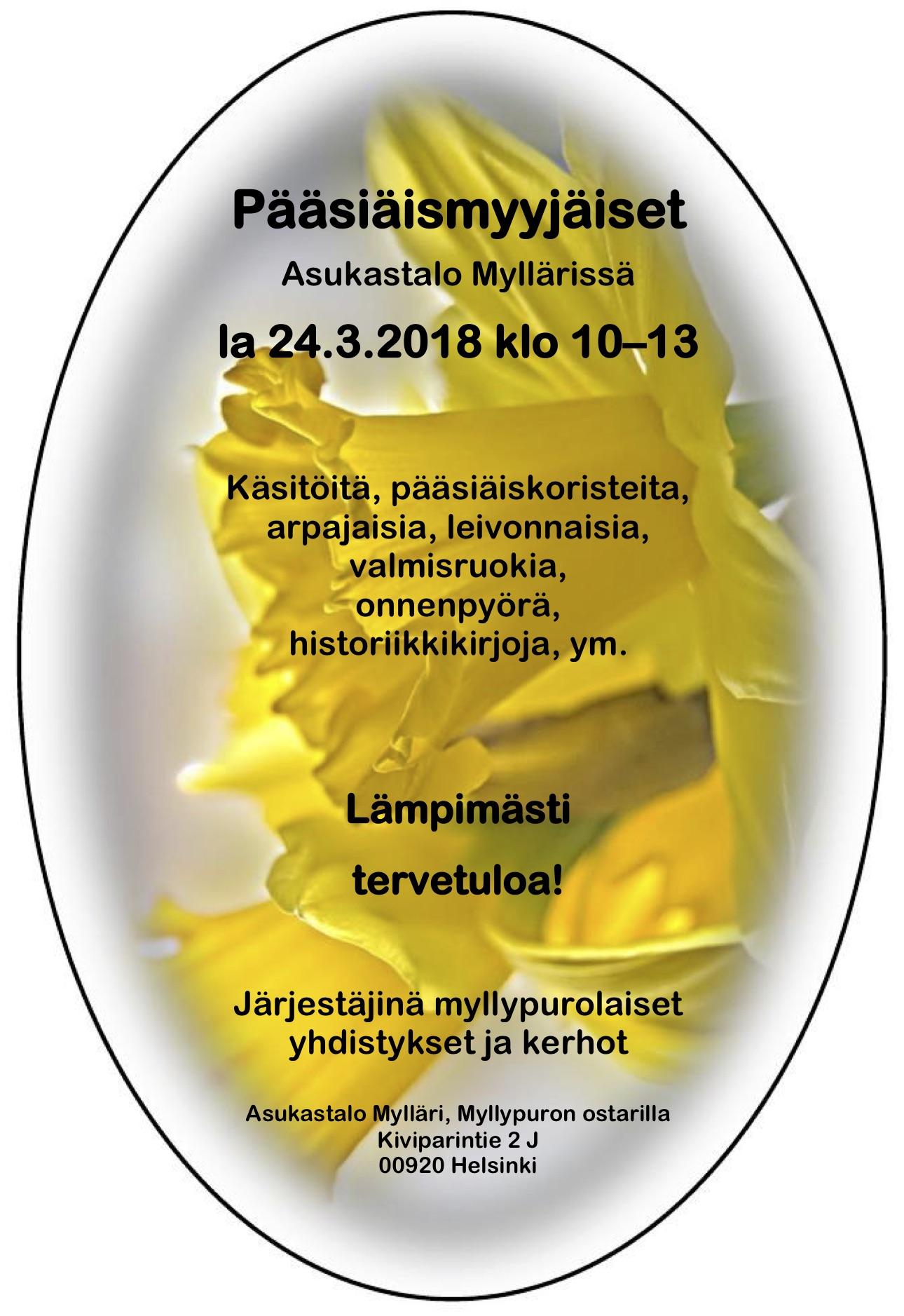 Pääsiäismyyjäiset mainos 2018