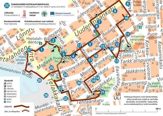 punavuori kotikaupunkipolut kartta